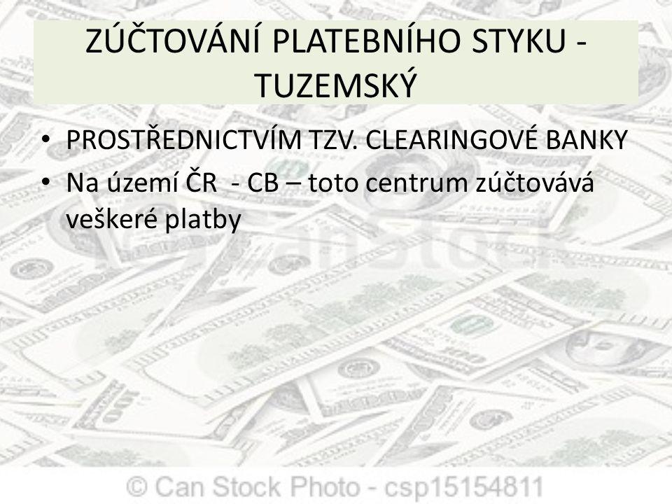 ZÚČTOVÁNÍ PLATEBNÍHO STYKU - TUZEMSKÝ PROSTŘEDNICTVÍM TZV. CLEARINGOVÉ BANKY Na území ČR - CB – toto centrum zúčtovává veškeré platby
