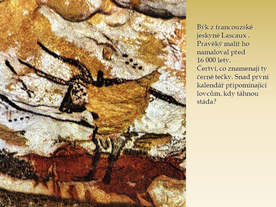 Býk z francouzské jeskyně Lascaux. Pravěký malíř ho namaloval před 16 000 lety. Čertví, co znamenají ty černé tečky. Snad první kalendář připomínající