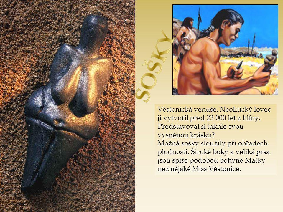 Věstonická venuše.Neolitický lovec ji vytvořil před 23 000 let z hlíny.