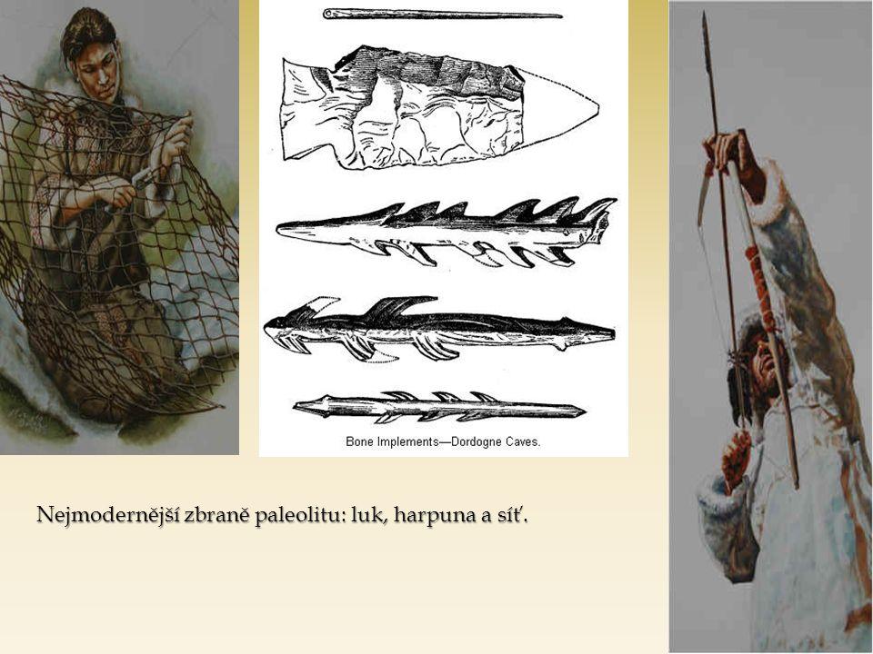 Nejmodernější zbraně paleolitu: luk, harpuna a síť.