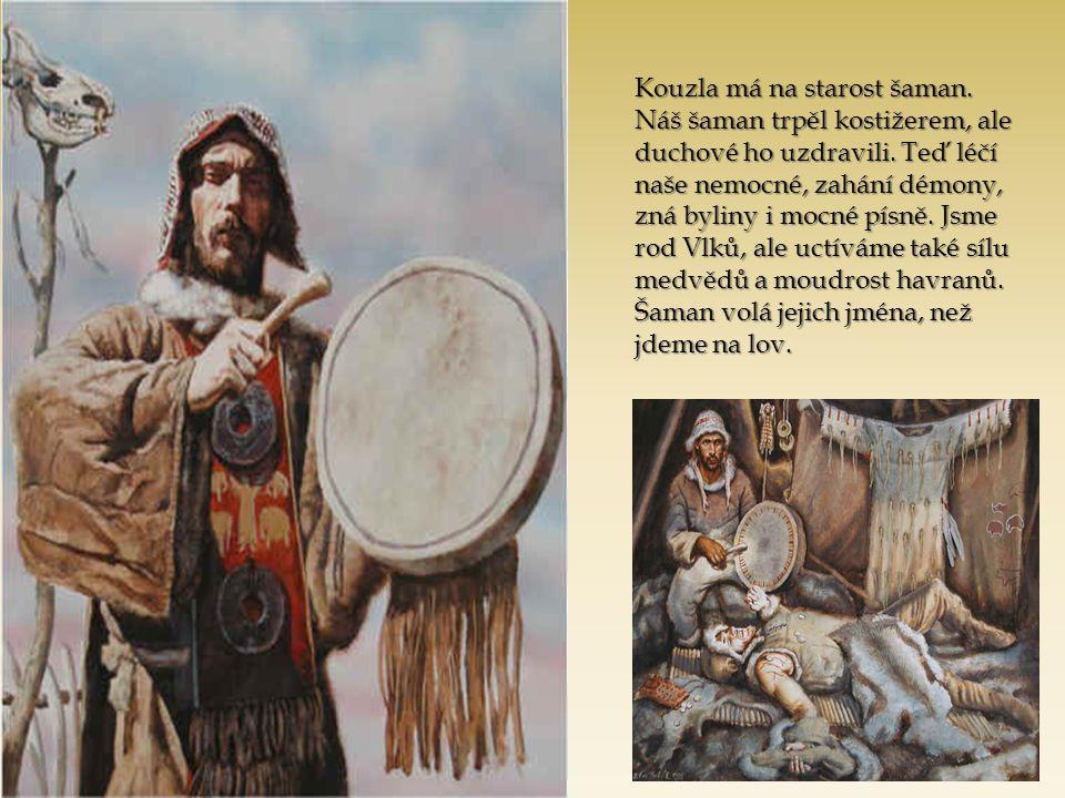 Kouzla má na starost šaman. Náš šaman trpěl kostižerem, ale duchové ho uzdravili. Teď léčí naše nemocné, zahání démony, zná byliny i mocné písně. Jsme