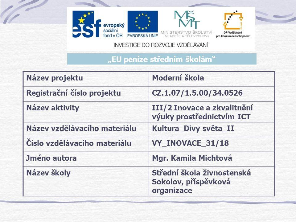 Název projektuModerní škola Registrační číslo projektuCZ.1.07/1.5.00/34.0526 Název aktivityIII/2 Inovace a zkvalitnění výuky prostřednictvím ICT Název vzdělávacího materiáluKultura_Divy světa_II Číslo vzdělávacího materiáluVY_INOVACE_31/18 Jméno autoraMgr.