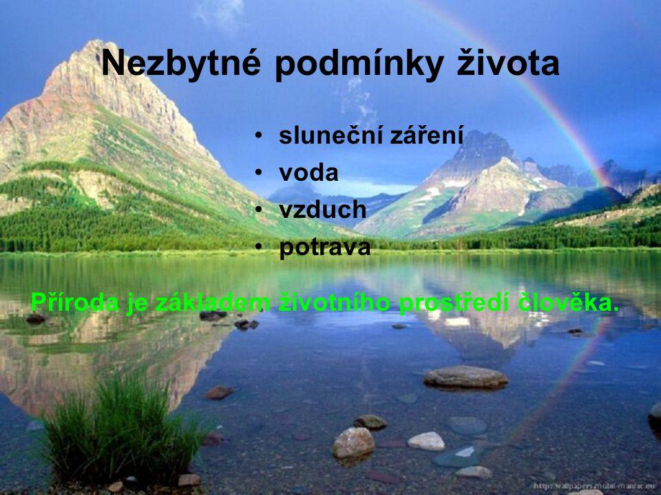 Nezbytné podmínky života sluneční záření voda vzduch potrava Příroda je základem životního prostředí člověka.