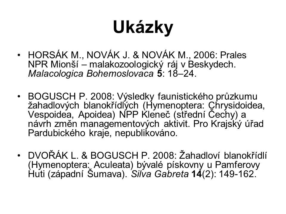 Ukázky HORSÁK M., NOVÁK J. & NOVÁK M., 2006: Prales NPR Mionší – malakozoologický ráj v Beskydech. Malacologica Bohemoslovaca 5: 18–24. BOGUSCH P. 200