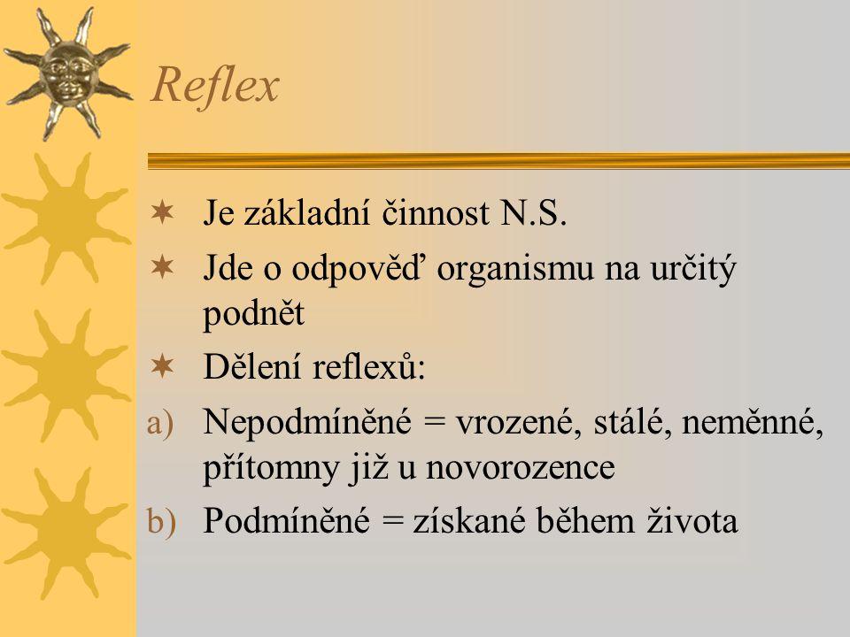 Reflex  Je základní činnost N.S.  Jde o odpověď organismu na určitý podnět  Dělení reflexů: a) Nepodmíněné = vrozené, stálé, neměnné, přítomny již