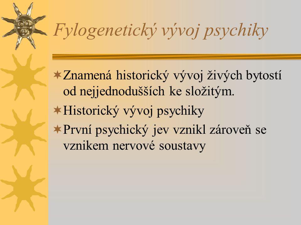 Fylogenetický vývoj psychiky  Znamená historický vývoj živých bytostí od nejjednodušších ke složitým.  Historický vývoj psychiky  První psychický j