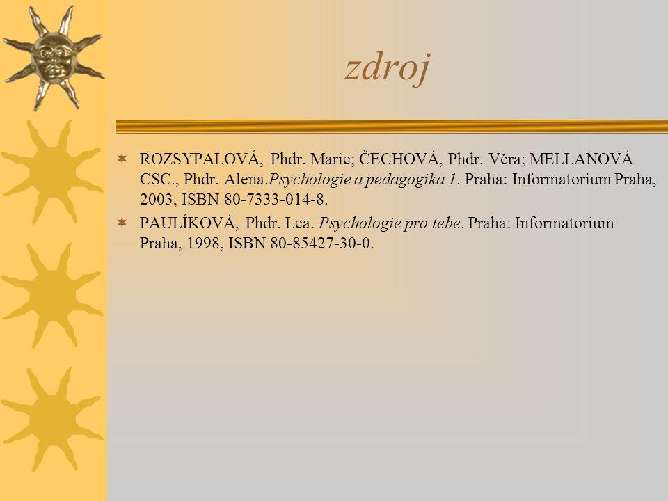 zdroj  ROZSYPALOVÁ, Phdr. Marie; ČECHOVÁ, Phdr. Věra; MELLANOVÁ CSC., Phdr. Alena.Psychologie a pedagogika 1. Praha: Informatorium Praha, 2003, ISBN