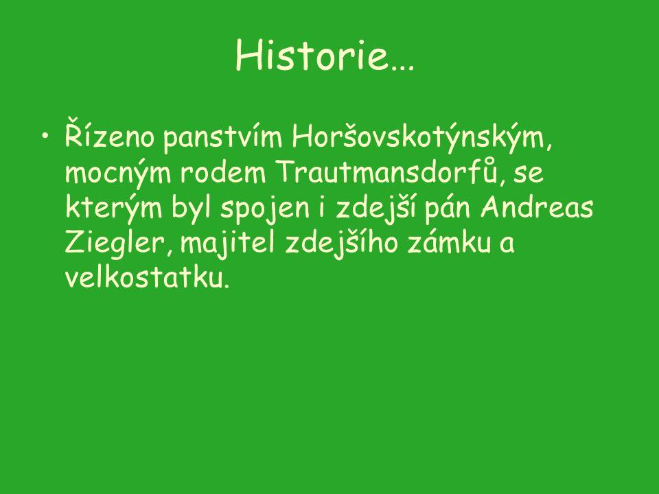 Historie… Řízeno panstvím Horšovskotýnským, mocným rodem Trautmansdorfů, se kterým byl spojen i zdejší pán Andreas Ziegler, majitel zdejšího zámku a v