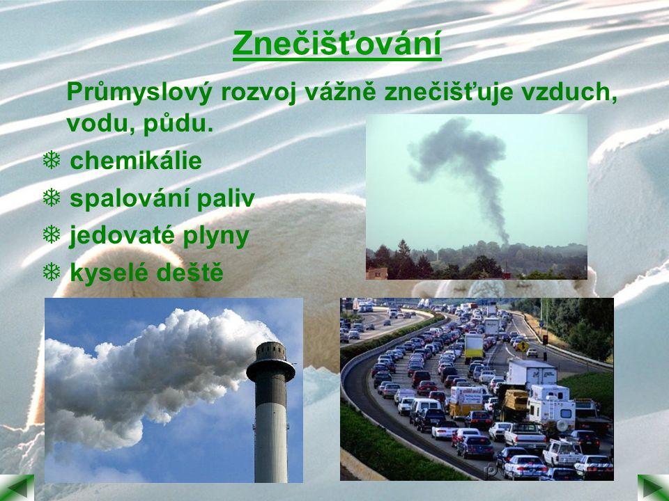 Znečišťování Průmyslový rozvoj vážně znečišťuje vzduch, vodu, půdu.  chemikálie  spalování paliv  jedovaté plyny  kyselé deště