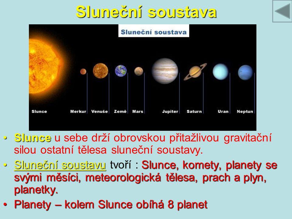 Sluneční soustava SlunceSlunce u sebe drží obrovskou přitažlivou gravitační silou ostatní tělesa sluneční soustavy. Sluneční soustavuSlunce, komety, p