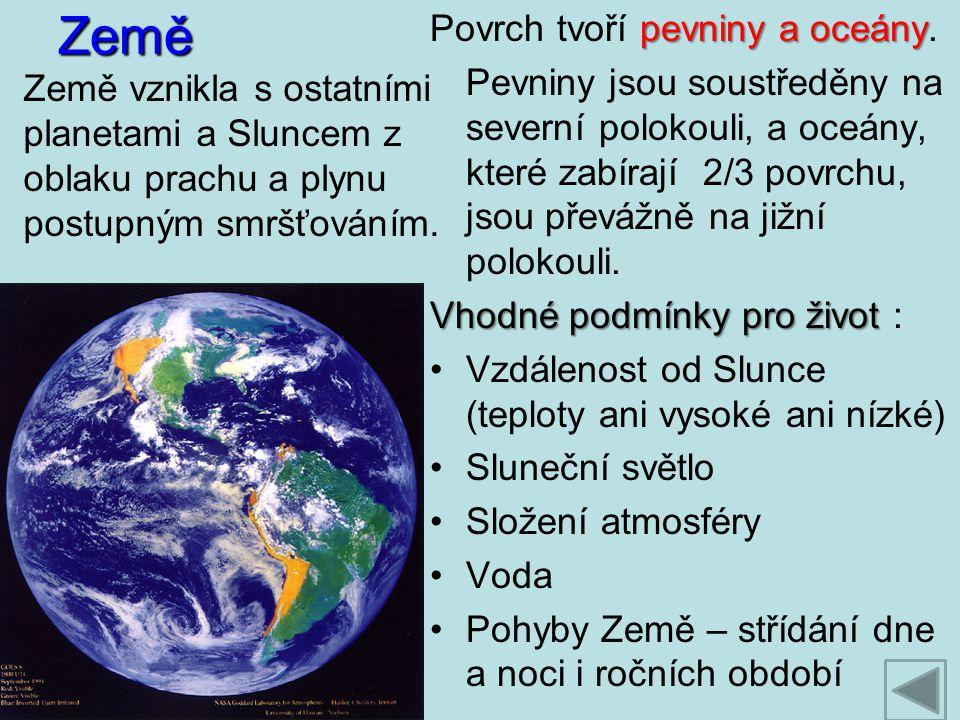 Země pevniny a oceány Povrch tvoří pevniny a oceány. Pevniny jsou soustředěny na severní polokouli, a oceány, které zabírají 2/3 povrchu, jsou převážn