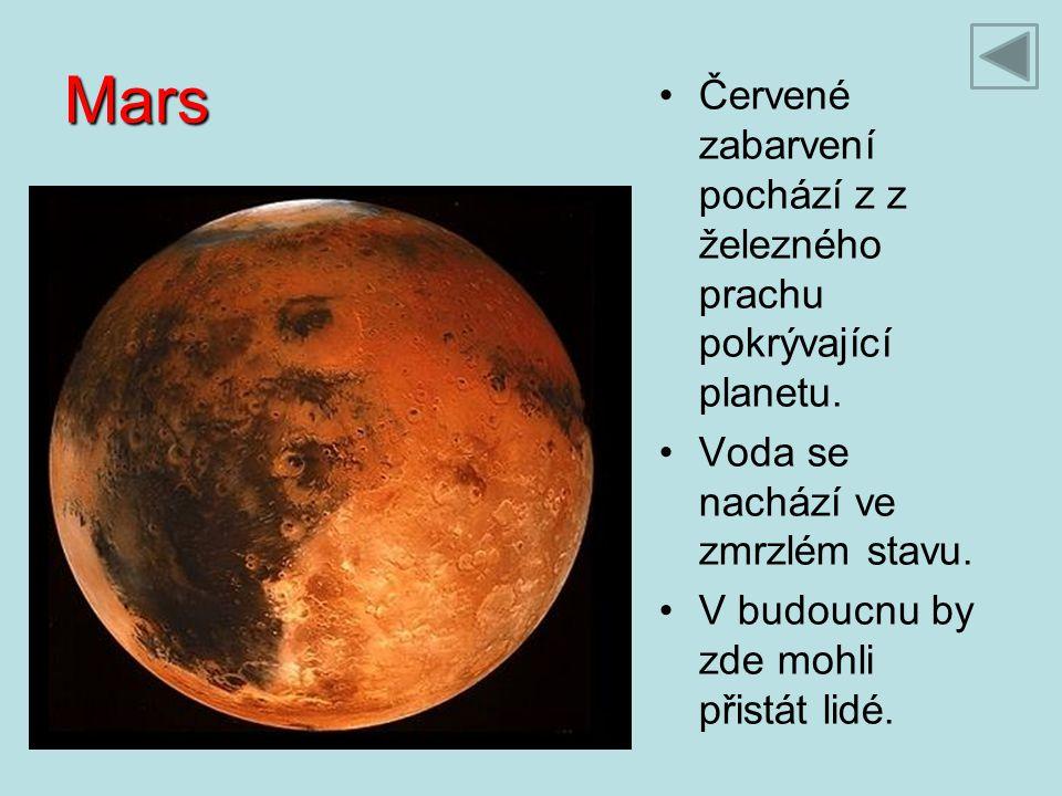 Mars Červené zabarvení pochází z z železného prachu pokrývající planetu. Voda se nachází ve zmrzlém stavu. V budoucnu by zde mohli přistát lidé.