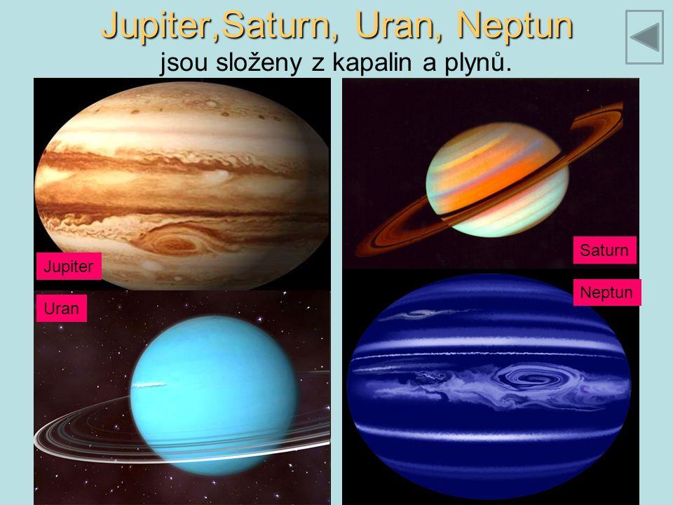 Jupiter,Saturn, Uran, Neptun Jupiter,Saturn, Uran, Neptun jsou složeny z kapalin a plynů. Jupiter Saturn Uran Neptun