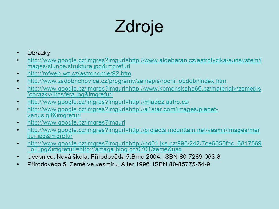 Zdroje Obrázky http://www.google.cz/imgres?imgurl=http://www.aldebaran.cz/astrofyzika/sunsystem/i mages/slunce/struktura.jpg&imgrefurlhttp://www.googl