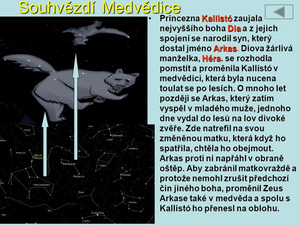 Souhvězdí Medvědice Kallistó Dia Arkas HéraPrincezna Kallistó zaujala nejvyššího boha Dia a z jejich spojení se narodil syn, který dostal jméno Arkas.
