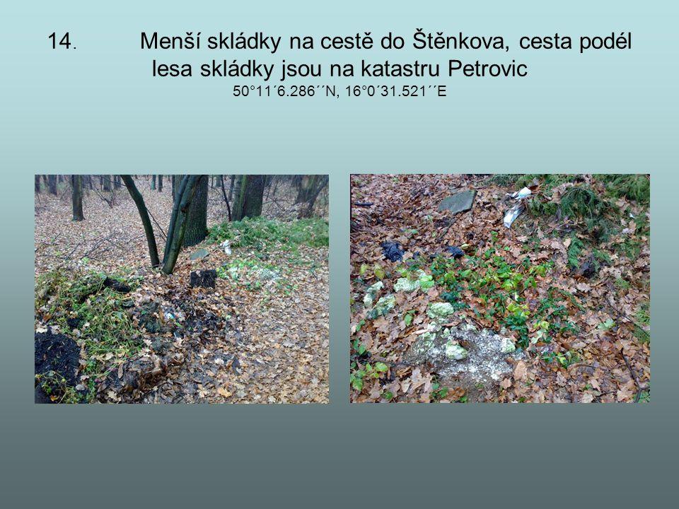 14. Menší skládky na cestě do Štěnkova, cesta podél lesa skládky jsou na katastru Petrovic 50°11´6.286´´N, 16°0´31.521´´E