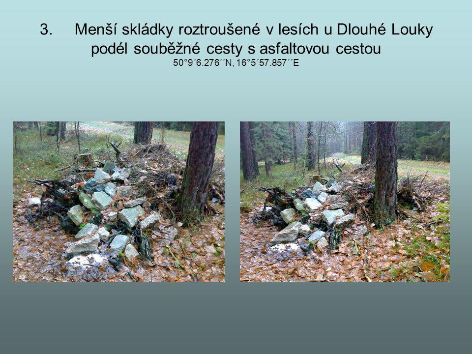 3. Menší skládky roztroušené v lesích u Dlouhé Louky podél souběžné cesty s asfaltovou cestou 50°9´6.276´´N, 16°5´57.857´´E
