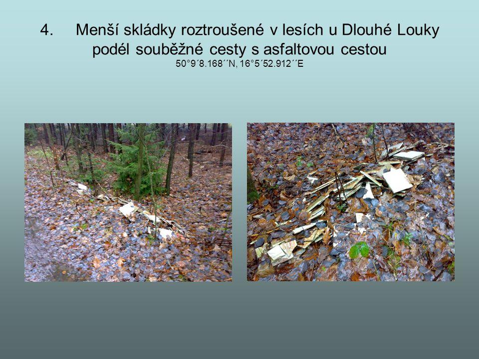 4. Menší skládky roztroušené v lesích u Dlouhé Louky podél souběžné cesty s asfaltovou cestou 50°9´8.168´´N, 16°5´52.912´´E