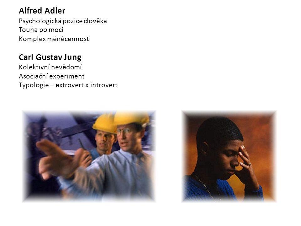 Alfred Adler Psychologická pozice člověka Touha po moci Komplex méněcennosti Carl Gustav Jung Kolektivní nevědomí Asociační experiment Typologie – extrovert x introvert