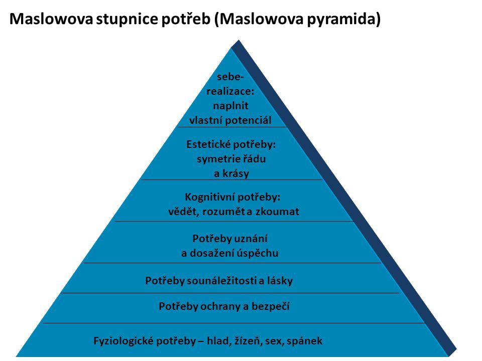 Maslowova stupnice potřeb (Maslowova pyramida) Fyziologické potřeby – hlad, žízeň, sex, spánek Potřeby ochrany a bezpečí Potřeby sounáležitosti a lásky Potřeby uznání a dosažení úspěchu Kognitivní potřeby: vědět, rozumět a zkoumat Estetické potřeby: symetrie řádu a krásy sebe- realizace: naplnit vlastní potenciál