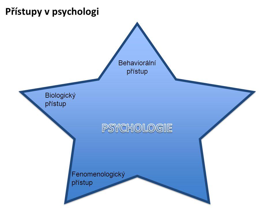 Přístupy v psychologi Behaviorální přístup Biologický přístup Fenomenologický přístup