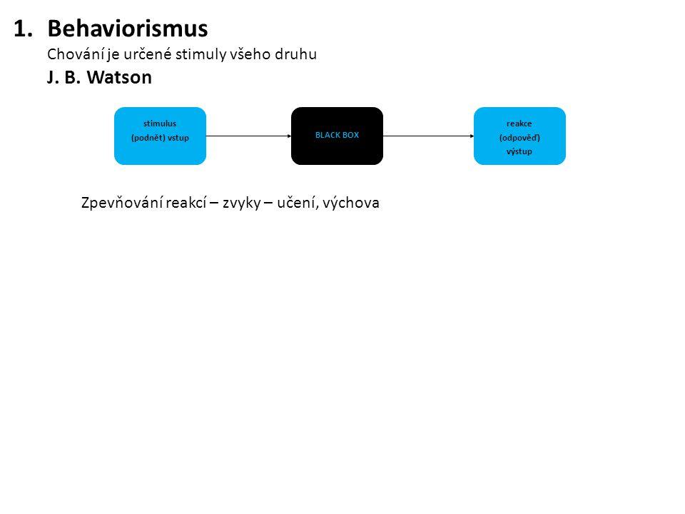 1.Behaviorismus Chování je určené stimuly všeho druhu J. B. Watson Zpevňování reakcí – zvyky – učení, výchova stimulus (podnět) vstup BLACK BOX reakce
