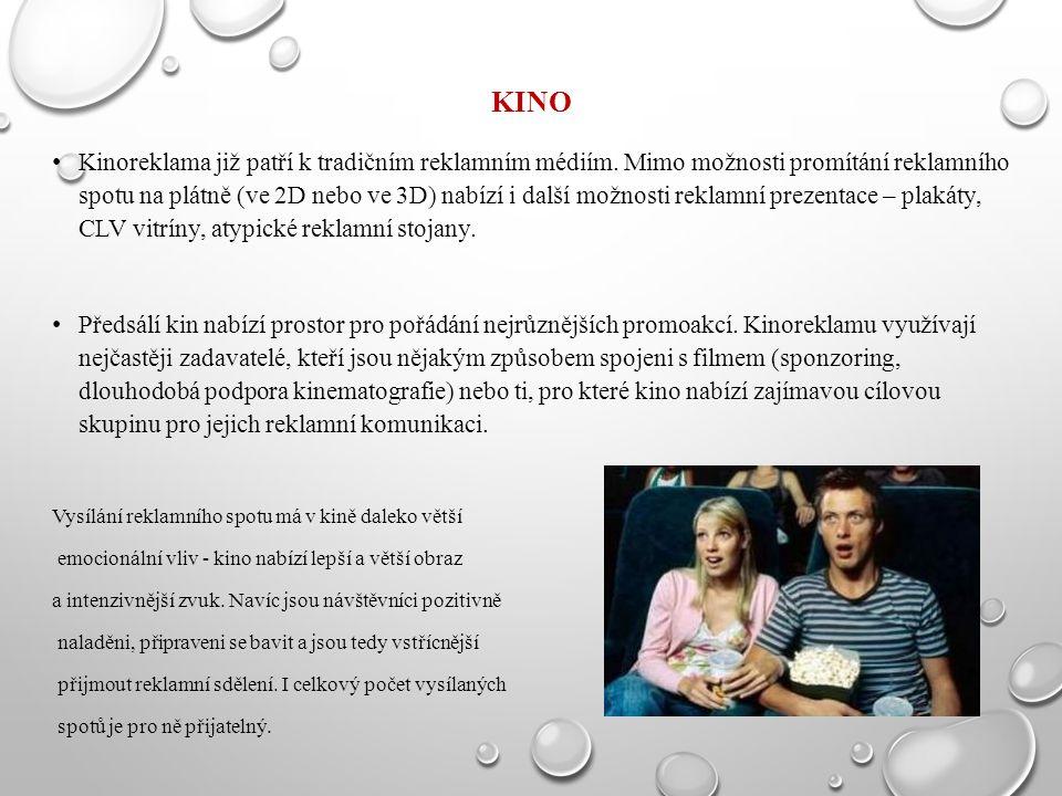 KINO Kinoreklama již patří k tradičním reklamním médiím. Mimo možnosti promítání reklamního spotu na plátně (ve 2D nebo ve 3D) nabízí i další možnosti
