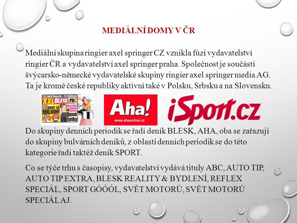 MEDIÁLNÍ DOMY V ČR Mediální skupina ringier axel springer CZ vznikla fúzí vydavatelství ringier ČR a vydavatelství axel springer praha. Společnost je