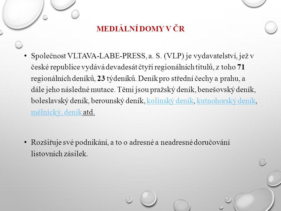 MEDIÁLNÍ DOMY V ČR Společnost VLTAVA-LABE-PRESS, a. S. (VLP) je vydavatelství, jež v české republice vydává devadesát čtyři regionálních titulů, z toh
