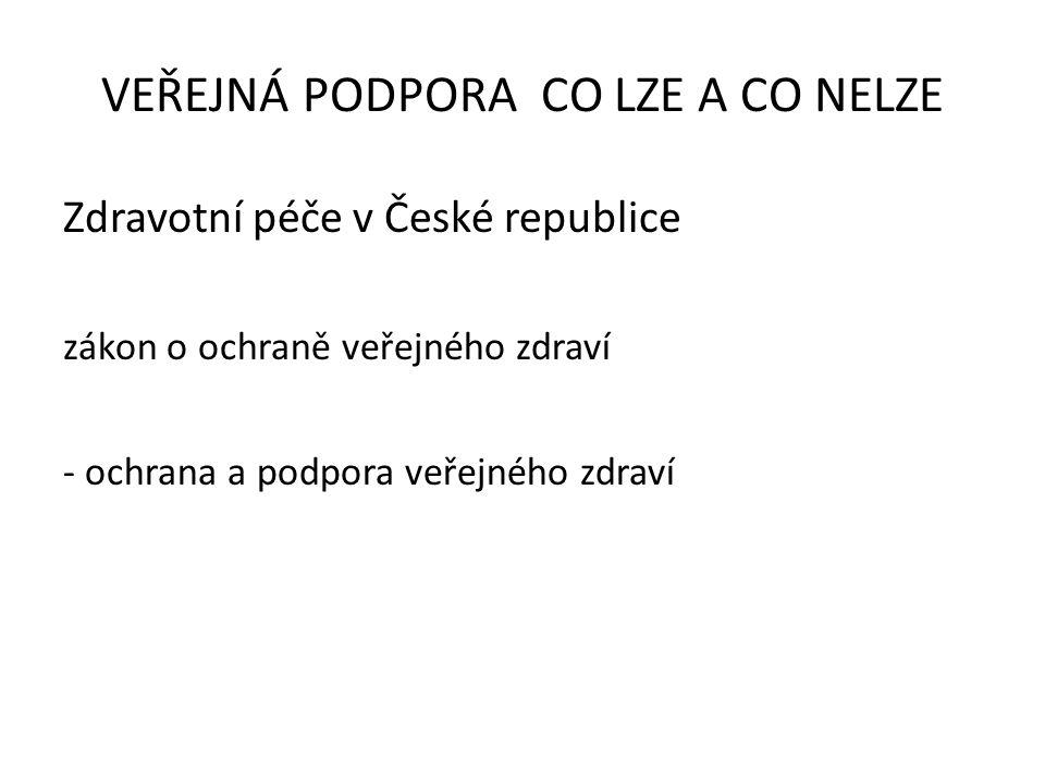 Zdravotní péče v České republice zákon o ochraně veřejného zdraví - ochrana a podpora veřejného zdraví VEŘEJNÁ PODPORA CO LZE A CO NELZE