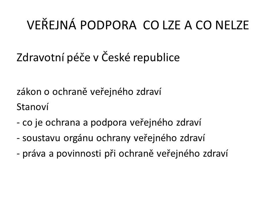 Zdravotní péče v České republice zákon o ochraně veřejného zdraví Stanoví - co je ochrana a podpora veřejného zdraví - soustavu orgánu ochrany veřejného zdraví - práva a povinnosti při ochraně veřejného zdraví VEŘEJNÁ PODPORA CO LZE A CO NELZE