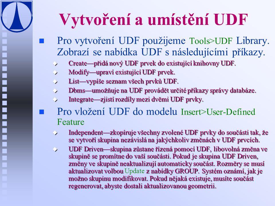 Vytvoření a umístění UDF n n Pro vytvoření UDF použijeme Tools>UDF Library.