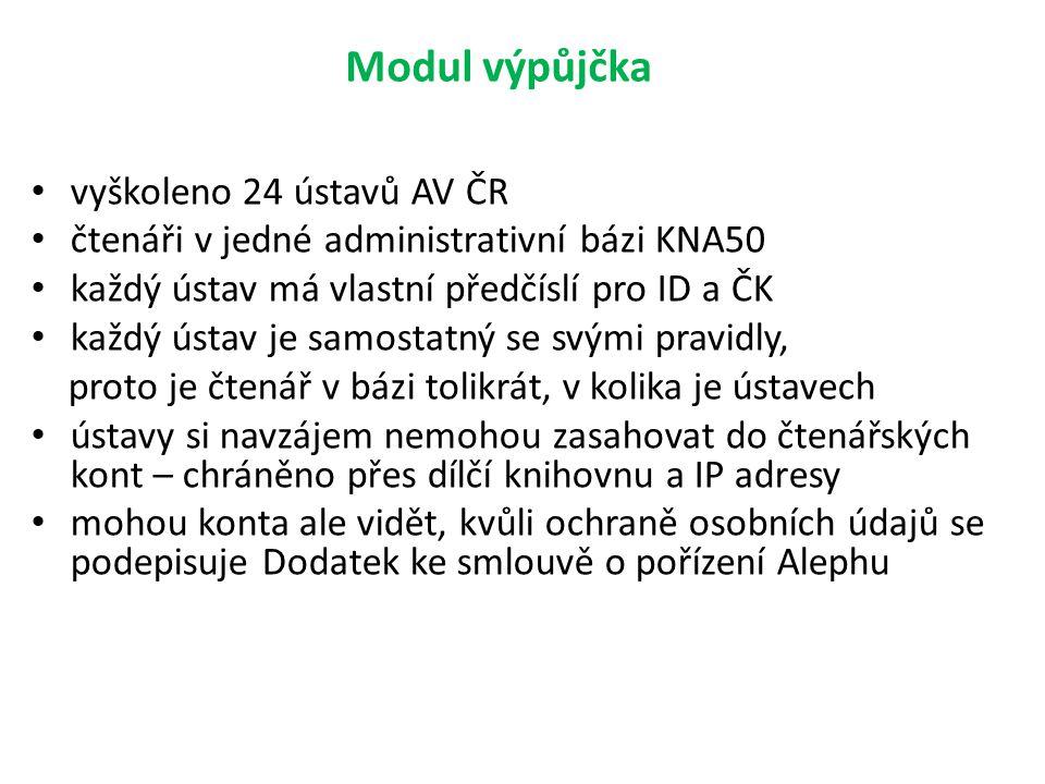 Modul výpůjčka vyškoleno 24 ústavů AV ČR čtenáři v jedné administrativní bázi KNA50 každý ústav má vlastní předčíslí pro ID a ČK každý ústav je samost