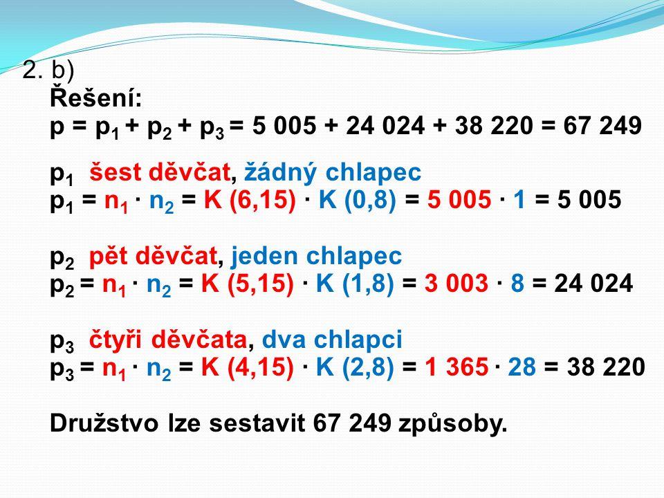 2. b) Řešení: p = p 1 + p 2 + p 3 = 5 005 + 24 024 + 38 220 = 67 249 p 1 šest děvčat, žádný chlapec p 1 = n 1 ∙ n 2 = K (6,15) ∙ K (0,8) = 5 005 ∙ 1 =