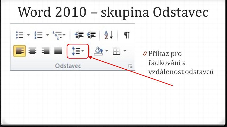 Word 2010 – skupina Odstavec 0 Příkaz pro řádkování a vzdálenost odstavců