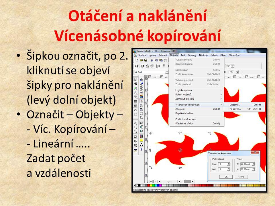 Převod objektů na křivky Označit + Ctrl+Q nebo Objekty – Převést na křivky S jednotlivými uzly lze libovolně manipulovat Takto tvarovat lze i písmo