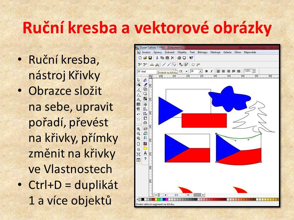 Ruční kresba a vektorové obrázky Ruční kresba, nástroj Křivky Obrazce složit na sebe, upravit pořadí, převést na křivky, přímky změnit na křivky ve Vlastnostech Ctrl+D = duplikát 1 a více objektů