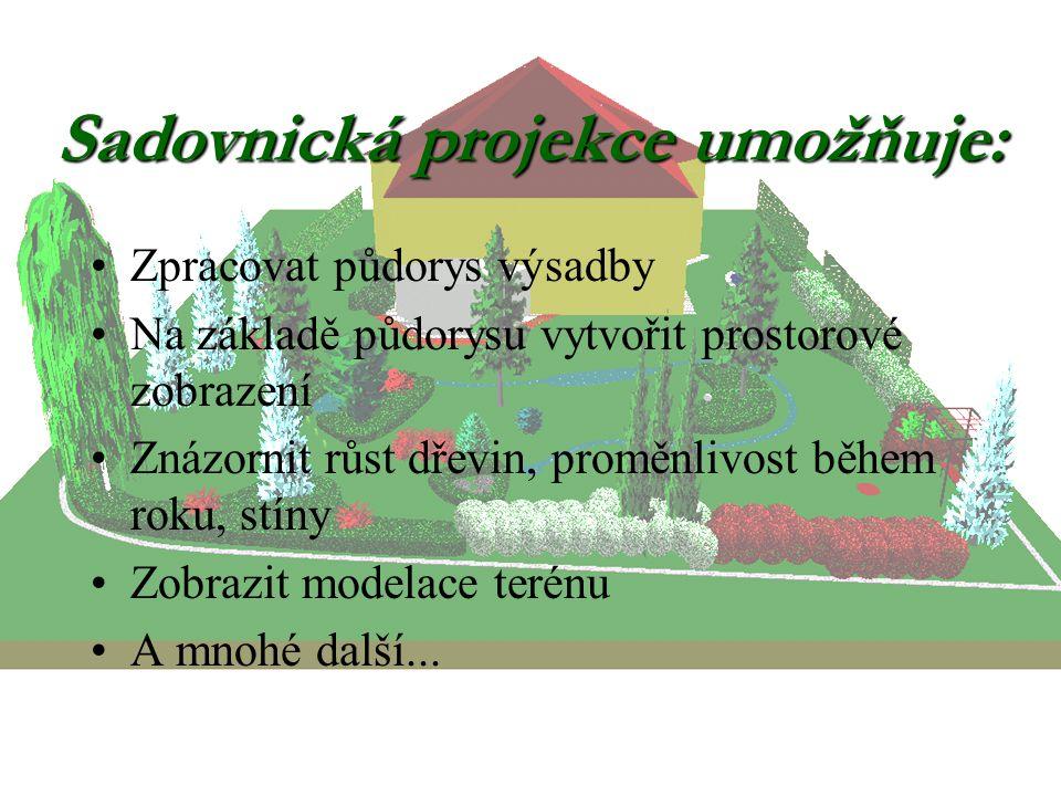 Sadovnická projekce umožňuje: Zpracovat půdorys výsadby Na základě půdorysu vytvořit prostorové zobrazení Znázornit růst dřevin, proměnlivost během roku, stíny Zobrazit modelace terénu A mnohé další...