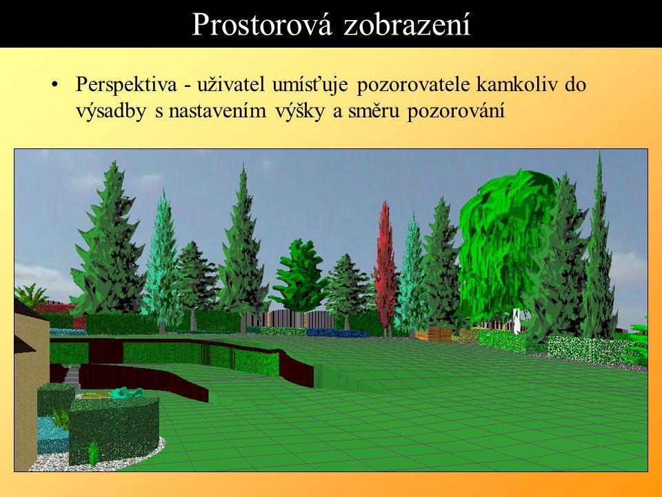 Prostorová zobrazení Perspektiva - uživatel umísťuje pozorovatele kamkoliv do výsadby s nastavením výšky a směru pozorování