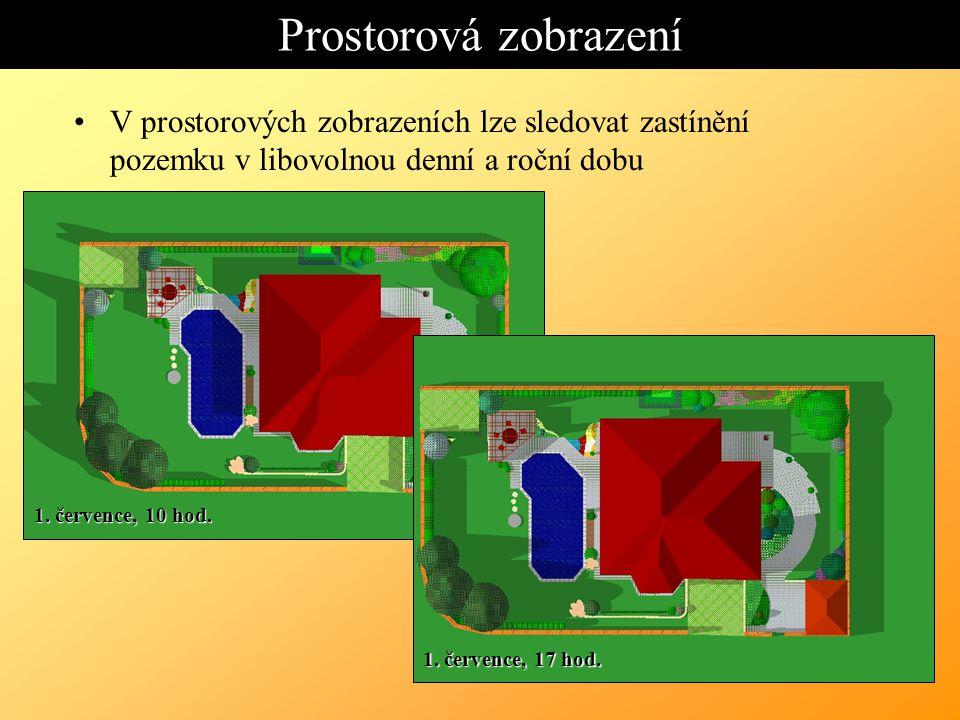 Prostorová zobrazení V prostorových zobrazeních lze sledovat zastínění pozemku v libovolnou denní a roční dobu 1.