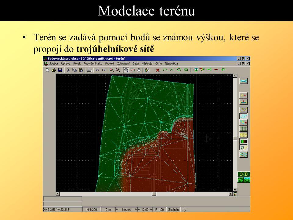 Modelace terénu Terén se zadává pomocí bodů se známou výškou, které se propojí do trojúhelníkové sítě