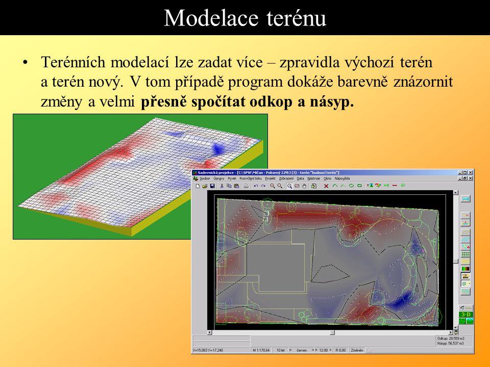Modelace terénu Terénních modelací lze zadat více – zpravidla výchozí terén a terén nový.