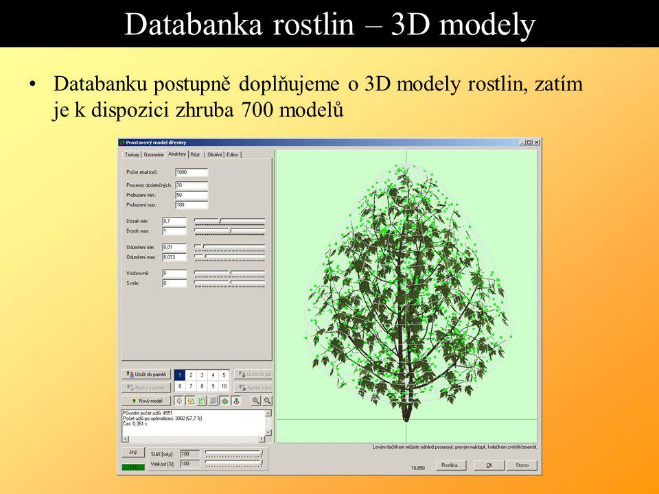 Databanka rostlin – 3D modely Databanku postupně doplňujeme o 3D modely rostlin, zatím je k dispozici zhruba 700 modelů