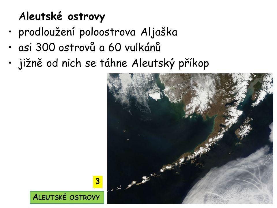 Aleutské ostrovy prodloužení poloostrova Aljaška asi 300 ostrovů a 60 vulkánů jižně od nich se táhne Aleutský příkop A LEUTSKÉ OSTROVY 3
