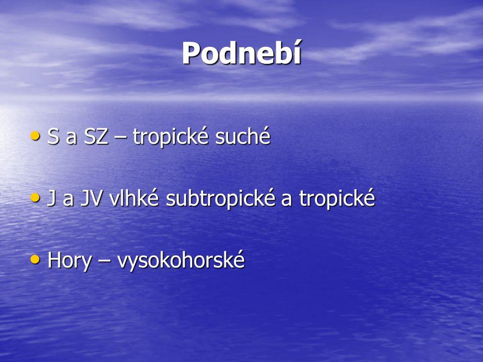 Podnebí S a SZ – tropické suché S a SZ – tropické suché J a JV vlhké subtropické a tropické J a JV vlhké subtropické a tropické Hory – vysokohorské Ho