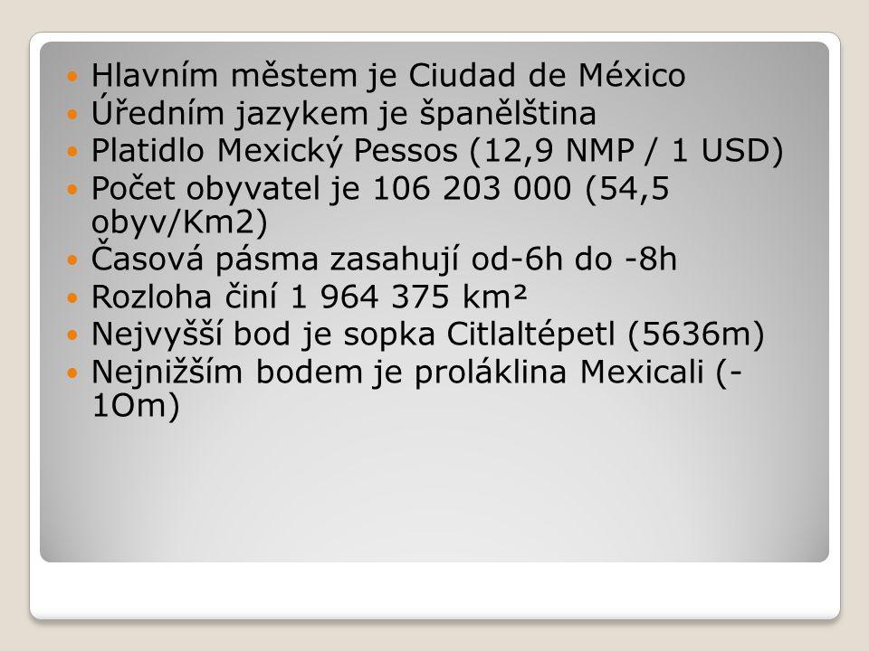 Hlavním městem je Ciudad de México Úředním jazykem je španělština Platidlo Mexický Pessos (12,9 NMP / 1 USD) Počet obyvatel je 106 203 000 (54,5 obyv/