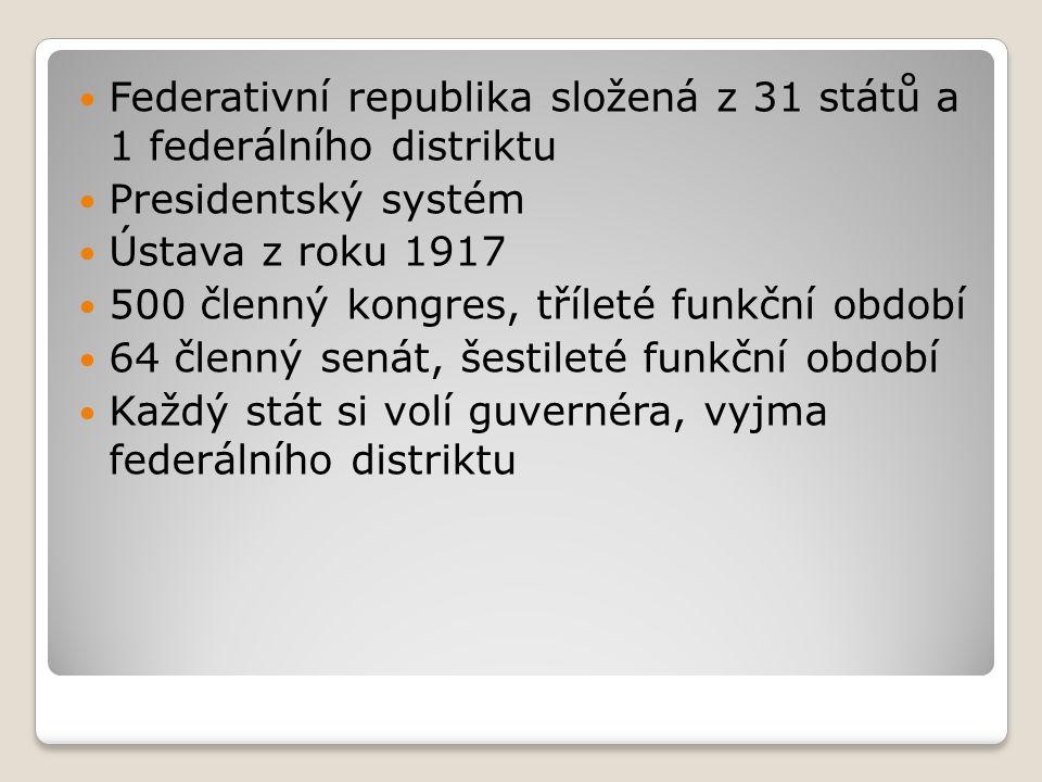 Federativní republika složená z 31 států a 1 federálního distriktu Presidentský systém Ústava z roku 1917 500 členný kongres, tříleté funkční období 6