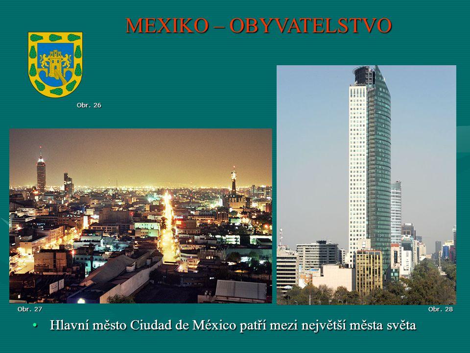 MEXIKO – OBYVATELSTVO Hlavní město Ciudad de México patří mezi největší města světaHlavní město Ciudad de México patří mezi největší města světa Obr.
