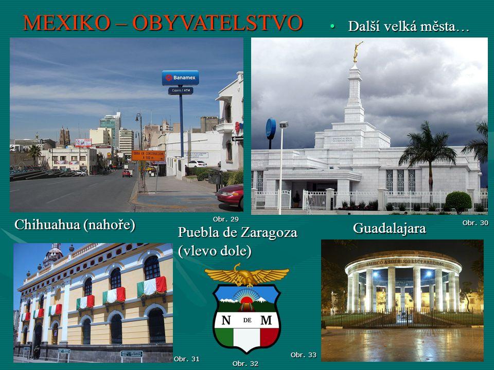 MEXIKO – OBYVATELSTVO Obr. 30 Další velká města…Další velká města… Guadalajara Obr. 32 Obr. 31 Obr. 29 Chihuahua (nahoře) Puebla de Zaragoza (vlevo do