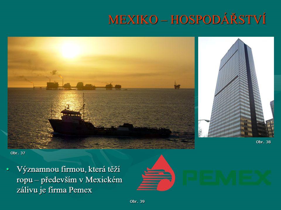 MEXIKO – HOSPODÁŘSTVÍ Významnou firmou, která těží ropu – především v Mexickém zálivu je firma PemexVýznamnou firmou, která těží ropu – především v Me